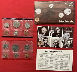 1985 P & D UNITED STATES MINT UNCIRCULATED COIN SET W/ENVELOPE