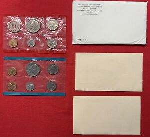 1971 P & D UNITED STATES MINT UNCIRCULATED COIN SET W/ENVELOPE