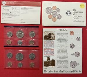 1992 P & D UNITED STATES MINT UNCIRCULATED COIN SET W/ENVELOPE