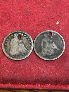 1853 AND 1861  SEATED HALF DIME BOTH HOLED  TWO COINS  SEE THE PICS