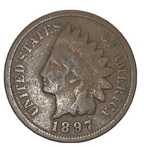 1897 P INDIAN HEAD CENT PENNY STOCK PHOTO  AG OR BETTER       3075