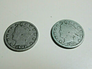 SET OF 2 LIBERTY HEAD V NICKELS   1902 & 1912