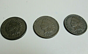 SET OF 3 INDIAN HEAD PENNIES   1899 &  2  1907 SEE PICTURES AND DESCRIPTION