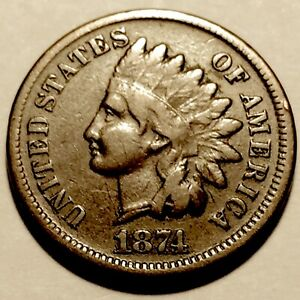 1874   INDIAN HEAD CENT   PENNY    FINE 2