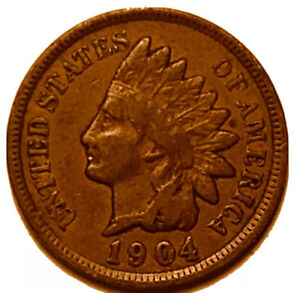 1904 P INDIAN HEAD CENT PENNY STOCK PHOTO  F   FINE       3086