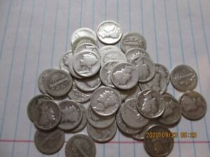MIX LOT OF 50 FROM 1917/1945  MERCURY DIMES.  G/XF