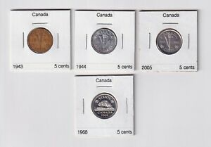 CANADA WWII VICTORY IN EUROPE 5 CENT COINS: 1943 1944 & 2005 CIRC. & UNCIRC.