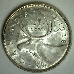 1938 SILVER CANADA 25 CENTS AU COIN CANADIAN ALMOST UNCIRCULATED QUARTER DOLLAR