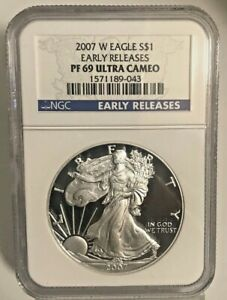 2007 W NGC PROOF 69 ULTRA CAMEO SILVER EAGLE