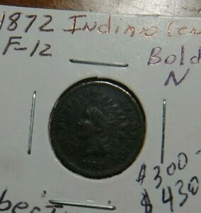 1872 INDIAN HEAD PENNY  BOLD N  FULL LIBERTY1 DIAMOND SMALL CENT  US COINS