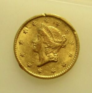 1854 TYPE 1 LIBERTY DOLLAR GOLD COIN   SLIGHTLY BENT RIM
