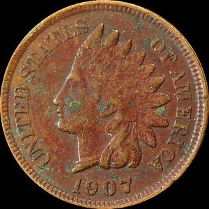 1907 INDIAN HEAD CENT PHILADELPHIA MINT COLLECTORS COIN