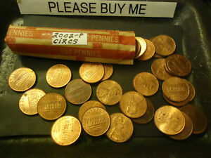2002 P ROLL OF CIRCS LINCOLN CENTS               S&H C/S