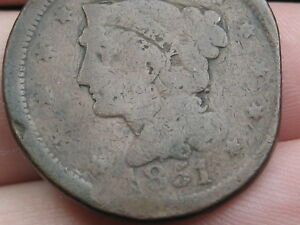 1851 BRAIDED HAIR LARGE CENT PENNY  CLIPPED PLANCHET?