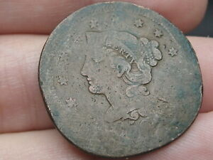 1850 BRAIDED HAIR LARGE CENT PENNY  SMASHED/ELONGATED