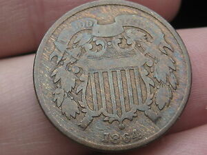 1864 TWO 2 CENT PIECE  LARGE MOTTO 180 DEGREE ROTATED REVERSE MINT ERROR