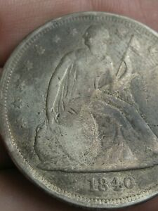 1840 SEATED LIBERTY SILVER DOLLAR  VG/FINE DETAILS  DATE