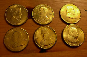 US PRESIDENTS HISTORY SOLID BRASS LOT OF 6 COINS  SHIPS NOVEMBER 6