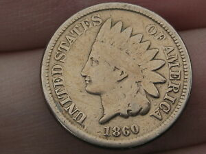1860 COPPER NICKEL INDIAN HEAD CENT PENNY  ROUNDED BUST VG DETAILS
