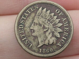 1860 COPPER NICKEL INDIAN HEAD CENT PENNY  POINTED BUST XF DETAILS