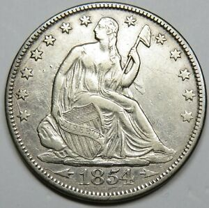 1854 P WITH ARROWS SILVER SEATED LIBERTY 50C HALF DOLLAR US COIN ITEM 24488