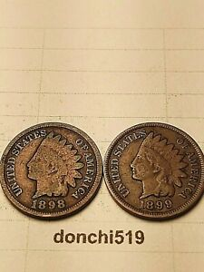 1898 1899 INDIAN HEAD SMALL CENTS G  IC 10 06   LOT OF 2