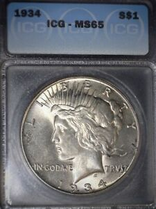 1934 PEACE SILVER DOLLAR ICG MS65 GEM GRADE  ISSUE FREE