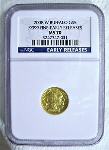 2008 W $5 1/10 OZ GOLD BUFFALO NGC MS 70 .9999 EARLY RELEASES