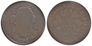 1798 1C LARGE CENT FIRST HAIR STYLE S 147 B 4 LOW R.5 GOOD 4 ANACS
