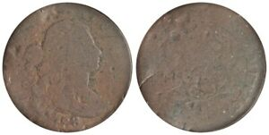 1798 1C LARGE CENT SECOND HAIR STYLE S 177 B 25 HIGH R.4 ANACS. AG3 DETAILS