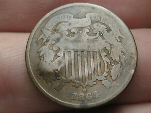 1864 TWO 2 CENT PIECE  LARGE MOTTO GOOD DETAILS