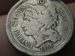 1866 THREE 3 CENT NICKEL  GOOD DETAILS