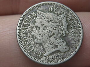 1865 THREE 3 CENT NICKEL  CIVIL WAR TYPE COIN