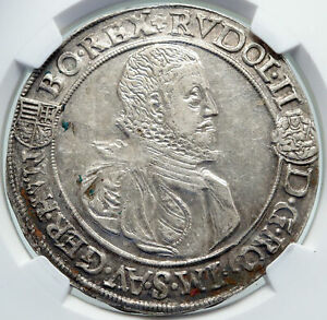 Click now to see the BUY IT NOW Price! 1582 HUNGARY KING RUDOLF II CROWNED EAGLE ANTIQUE SILVER TALER COIN NGC I87201