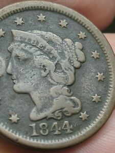1844 BRAIDED HAIR LARGE CENT PENNY NORMAL DATE FINE DETAILS