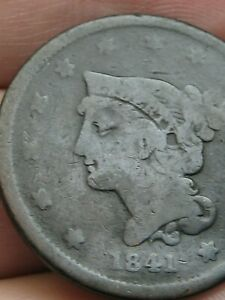 1841 BRAIDED HAIR LARGE CENT PENNY SMALL DATE VG DETAILS