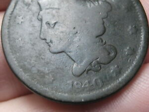 1840 BRAIDED HAIR LARGE CENT PENNY  LARGE DATE  GOOD/VG DETAILS