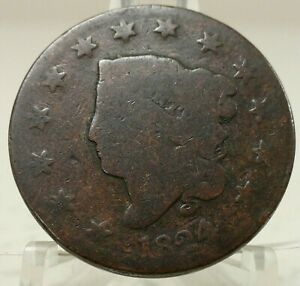 1824 4 OVER 2 UNITED STATES LARGE CENT 68562 012 BIN