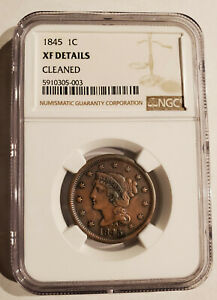 1845 PHILADELPHIA MINT COPPER BRAIDED HAIR LARGE CENT NGC CERTIFIED NICE COIN