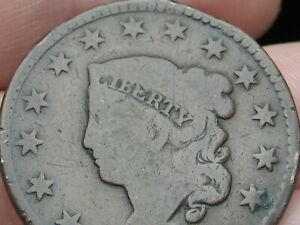 1826 MATRON HEAD LARGE CENT PENNY NORMAL DATE VG DETAILS