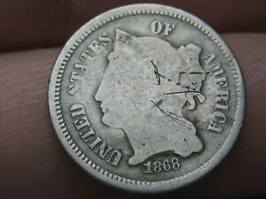 1868 THREE 3 CENT NICKEL  CIVIL WAR TYPE COIN