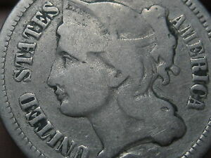 1865 1889 THREE 3 CENT NICKEL  VG DETAILS
