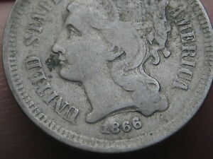 1866 THREE 3 CENT NICKEL  FINE DETAILS REVERSE DIE CRACKS