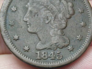1845 BRAIDED HAIR LARGE CENT PENNY  VG/FINE DETAILS