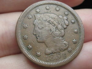 1854 BRAIDED HAIR LARGE CENT PENNY  THIN PLANCHET