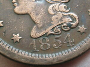 1854 BRAIDED HAIR LARGE CENT PENNY  XF DETAILS