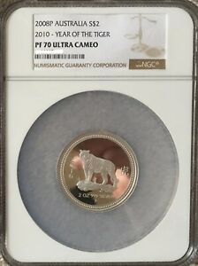 Click now to see the BUY IT NOW Price! AUSTRALIA 2OZ SILVER 2008 2010 LUNAR TIGER SERIES I NGC PF70 PROOF COIN