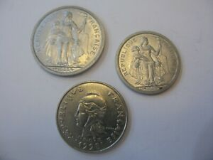 LOT OF CIRCULATED FRANC COINS FROM FRENCH POLYNESIA
