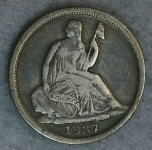 1837 H10C SEATED LIBERTY HALF DIME NO STARS VF   FINE EARLY US TYPE COIN