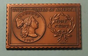 1793 UNITED STATES U. S. LIBERTY CAP LARGE CENT NUMISTAMP MEDAL 1978 MORT REED
